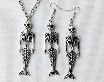 Dancing Mermaid Skeleton Necklace & Earrings 3pc