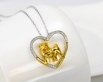 Sterling Silver Open Heart Shar Pei Necklace