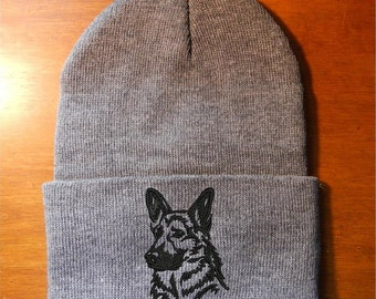 German Shepherd Embroidered Knit Hat