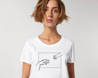 Hand of God Shirt, Cat Mom Shirt, Creation of Adam, Funny Cat Shirt, Cat Lover Gift for Women, Gifts for Cat Lovers, Minimalist Michelangelo