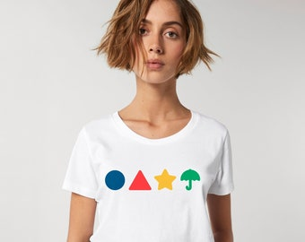 Squid Game T-Shirt Circle Triangle Star Umbrella Game Netflix Series Women's Shirt