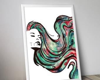 Woman with multicolor hair - Digital Printable print