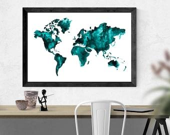Teal world map watercolor map travel art mapa acuarela arte del viaje de viaje gumiabroncs Images