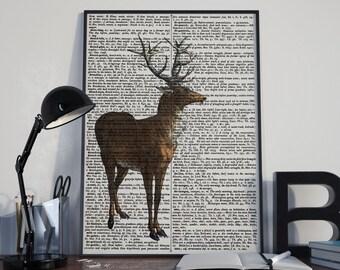 Deer print, Dictionary art print, Vintage print