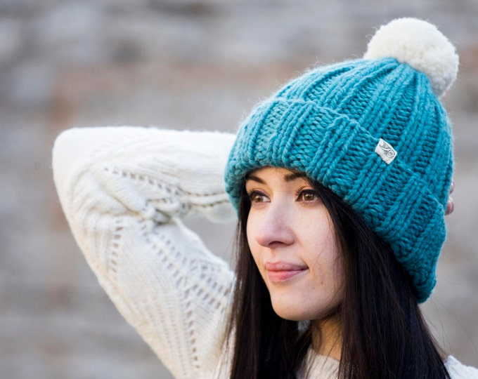 Big Merino Wool Handmade Turquoise Blue Beanie with big Natural White Pom Pom// Warm and Soft// Will make you feel special :)
