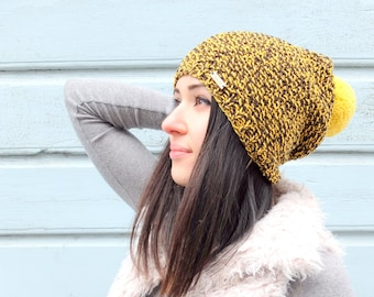 Merino & Cotton mix beanie eith removable pompom