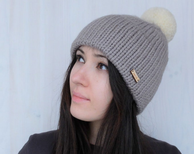 "Merino Beanie ""Snow Star"" // Double Brim // Handknitted"