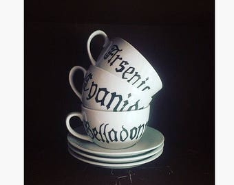 Witch's Poison Tea Set ~ Tea Cup ~ Saucer ~ Arsenic ~ Belladonna ~ Cyanide ~ ABC ~ Gothic ~ Halloween ~ Decorations ~ Party