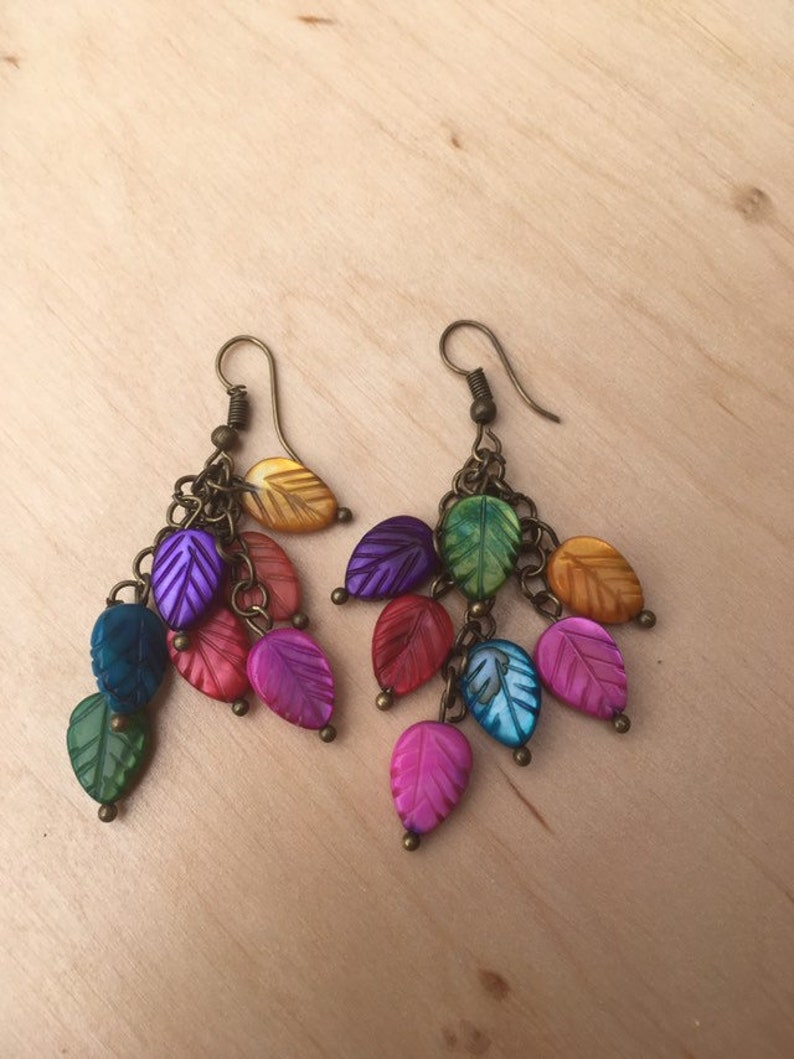Multicolour Leaf Earrings