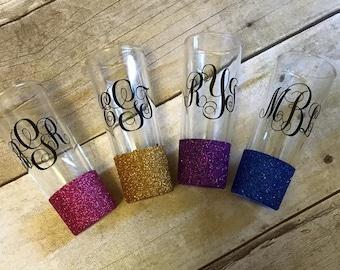 Glitter Shot Glass, Personazlized, Monogram Shot Glass, bridesmaid gift