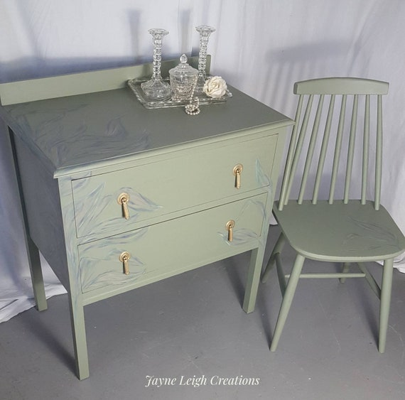Sold Vintage Painted Drawers And Bedroom Chair Shabby Chic Etsy