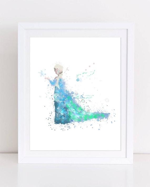 Affiche 70 % congelés Elsa Watercolor Frozen Disney imprimable impression  Aquarelle Aquarelle Disney imprimer Elsa pépinière mur imprimable Disney  affiche 25588082065