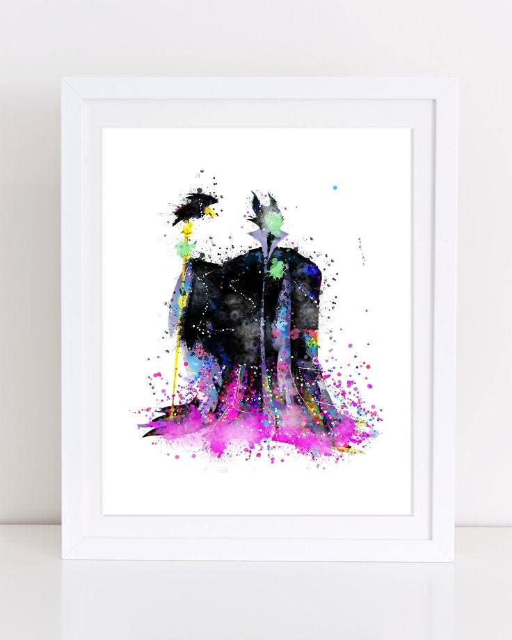 Sleeping Beauty Maleficent Watercolor Poster Demona Watercolor