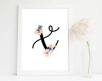 70% floral initials print, girl nursery , printable nursery, nursery , nursery wall , girls room decor, girls nursery poster