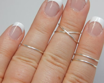 MIDI RING | Criss Cross Ring | X Ring | Knuckle Ring Set | Silver | Gold | Trendy Rings | Dainty Rings | 3 Midi Ring Set