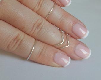 Silver midi ring   Gold  set 5 adjustable chevron/round ring stack minimal midi ring gift sister bridesmaids daughter