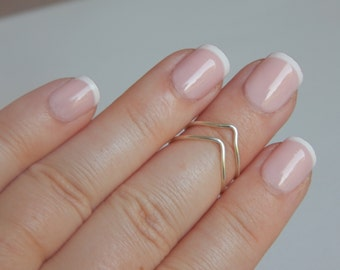 Knuckle Ring Set Silver   Gold  2 adjustable chevron minimal midi rings in Silver or Gold Stackable Rings Gift Bridesmaid