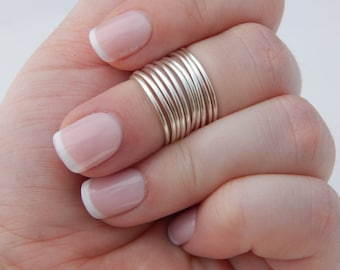 Knuckle Rings | Silver and Gold | Women | Midi Ring Set Of 10 | Adjustable | First Knuckle | Above The Knuckle | Boho Rings | Gift for her