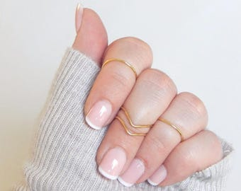 Gold Midi Rings |   Gold Set | Silver | Chevron | 4 Ring Knuckle Set | Adjustable Midi Rings | Gift for her | Midi Ring Set