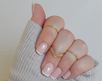 4 Midi Ring Set | Adjustable | Chevron Round | Knuckle Set | Silver Gold | Boho Rings | Midis | Gift For Her