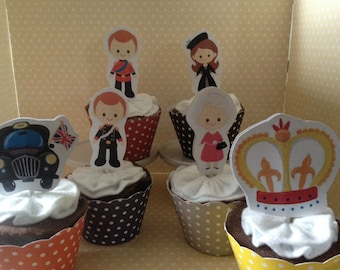 The Royal Family, British, England, UK, Prince William, Princess Kate Party Cupcake Topper Decorations - Set of 10