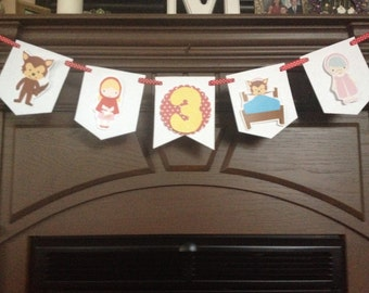 Red Ridinghood Birthday Party Mini Banner