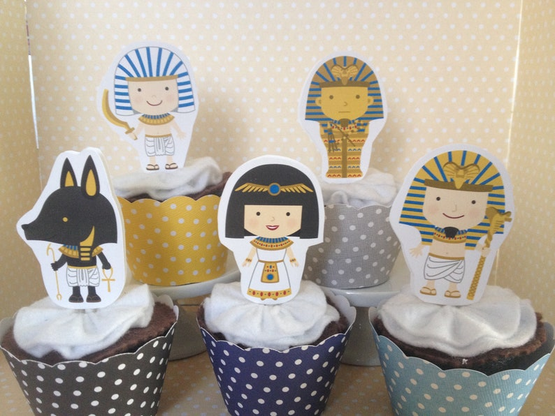Ancient Egypt Party Cupcke Topper Decorations Set Of 10 Etsy