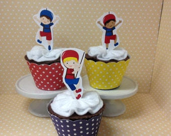 Rock Climbing Party Cupcake Topper Decorations - Set of 10