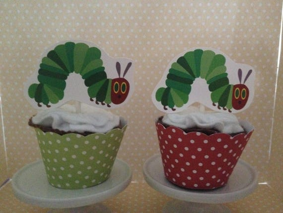 The Hungry Caterpillar Party Cupcake Topper Decorations