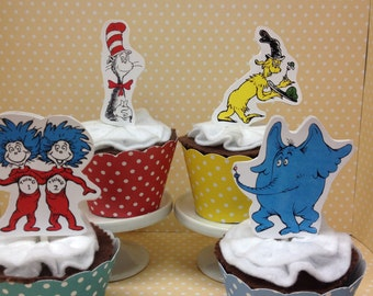 Dr Seuss Party Cupcake Topper Decorations - Set of 10