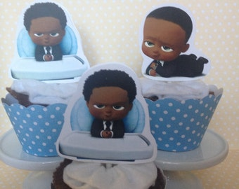 African American Boss Baby Party Cupcake Topper Decorations - Set of 10