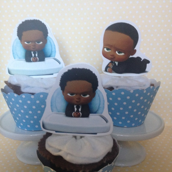 African American Black Boss Baby Party Cupcake Topper Decorations Set Of 10