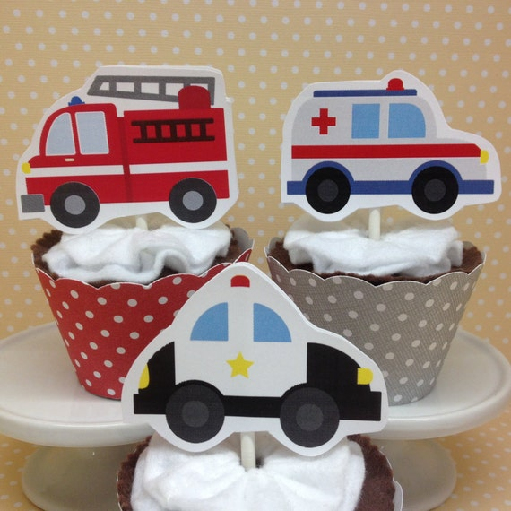 Emergency Vehicles Ambulances Police Cars Fire Trucks Party Cupcake Topper Decorations
