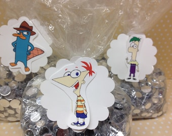Phineas and Ferb Party Candy or Favor Bags with Tags - Set of 10
