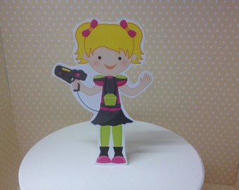 Boy or Girl Laser Tag Party Cake Topper Decoration