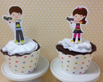 Laser Tag Party Cupcake Topper Decorations - Set of 10