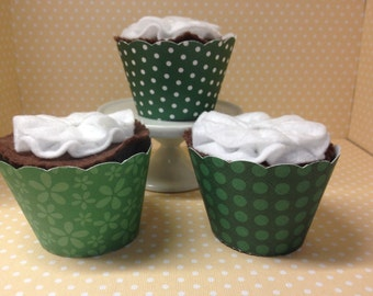 Dark Green Cupcake Wrappers - set of 10