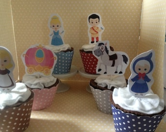Cinderella Party Cupcake Topper Decorations