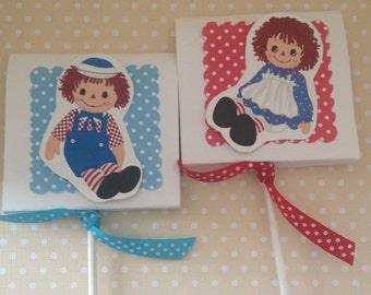 Raggedy Ann and Raggedy Andy Party Lollipop Favors - Set  of 10