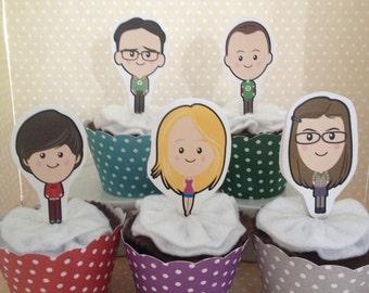Big Bang Theory Party Cupcake Topper Decorations - Set of 10