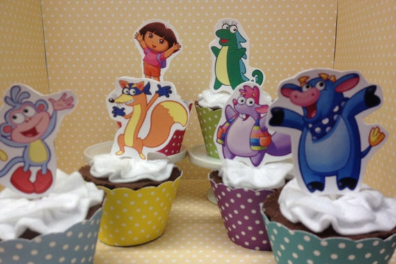 Dora Party Cupcake Topper Decorations Set Of 10