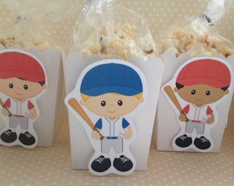 Boys Baseball Party Popcorn or Favor Boxes - Set of 10