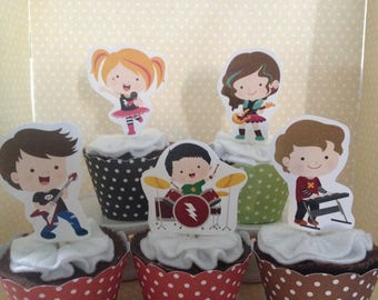 Rock Stars Boys and Girls Party Cupcake Toppers - Set of 10