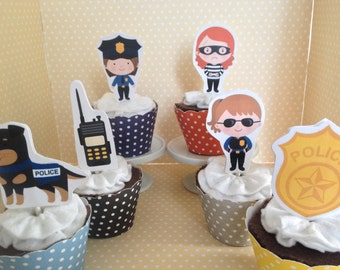 Policewoman, Law Enforcement Party Cupcake Topper Decorations - Set of 10