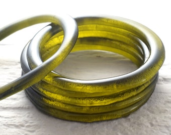 Wine Bottle Bangle - Melted Olive Green Glass - Stackable Bangles - Eco Friendly - Upcycled Recycled Repurposed Bracelet
