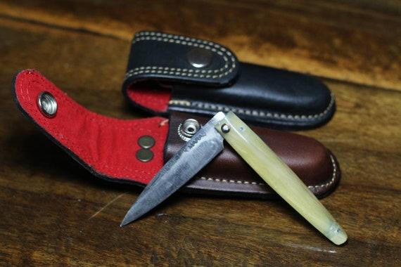 Hunter Genuine Leather Folding Pocket Knife Sheath Belt Loop Etsy