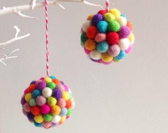 Rainbow Pom Pom Bauble. Christmas Tree Decoration. Christmas Tree Ornament. Felt Decor. Felt Ornament. Felt Ball Bauble. Holiday Decor