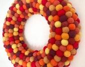 Fall Wreath. Thanksgiving Wreath. Modern Autumn Wreath. Felt Ball Wreath. Felt wreath. Modern Front Door Wreath. Holiday Door Decor