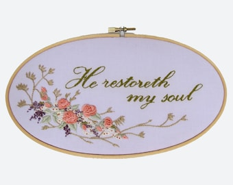 Hoop Art, Botanical Wall Hanging, Floral Embroidery,  9 Inch Hoop, Hand Embroidery, The Lord is My Shepherd, Faith Wall Decor