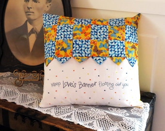 Banner Pillow Cover, Pillow Case, 18 x 18, Hand Embroidery, Original Design, Embroidered Quote, God Be With You, Home Decor, Pieced Pillow